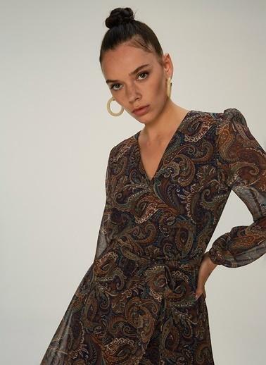 NGSTYLE Desenli Midi Elbise Lacivert